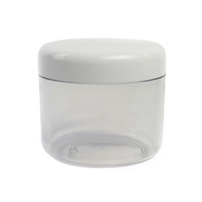 Clear Plastic 100ml Cosmetic Jar with White Cap (pack of 5)