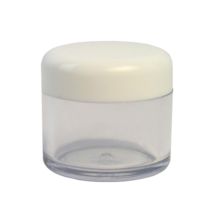 Clear Plastic 10ml Jar with White Cap (pack of 5)